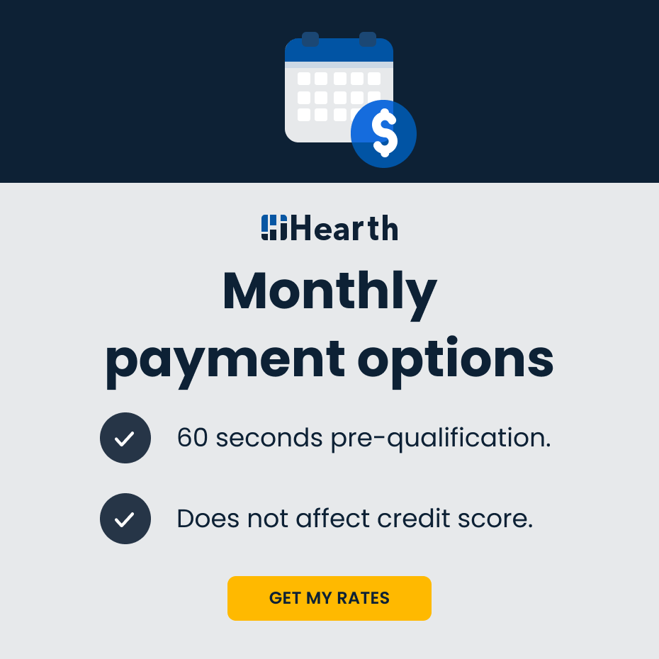 Monthly payment options - 60 second pre-qualification - Does not affect credit score